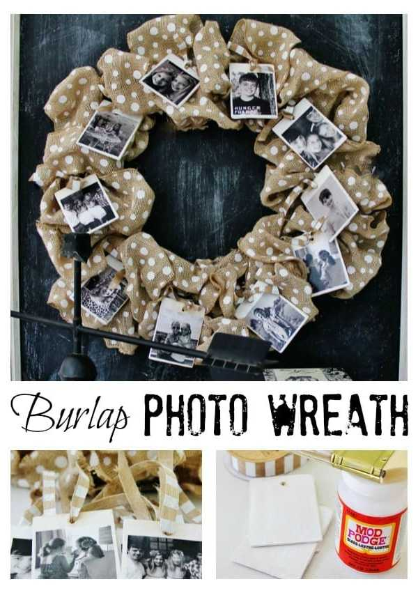 Burlap Photo Wreath