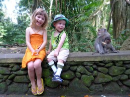 Olive and Jetson at the Monkey Forest