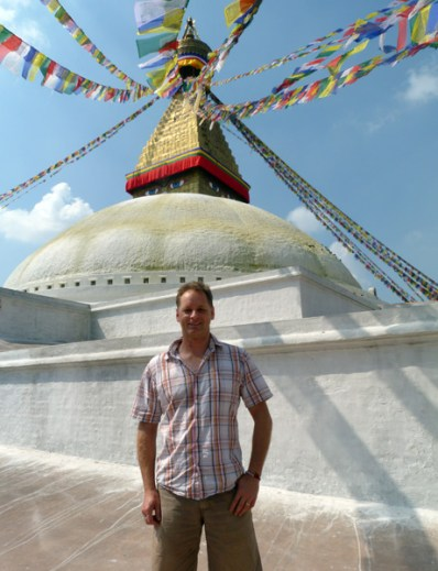 Rob in front of a stupa in Nepal