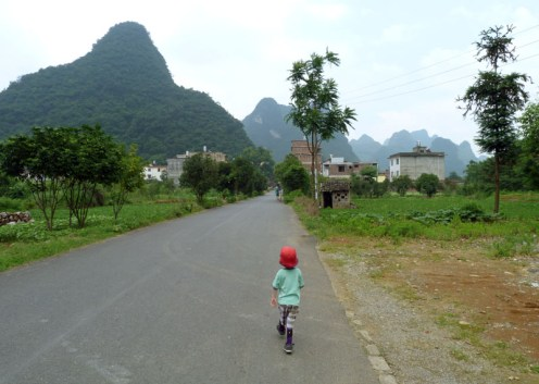 Jetson exploring around the Outside Inn and the village near Yangshuo, China