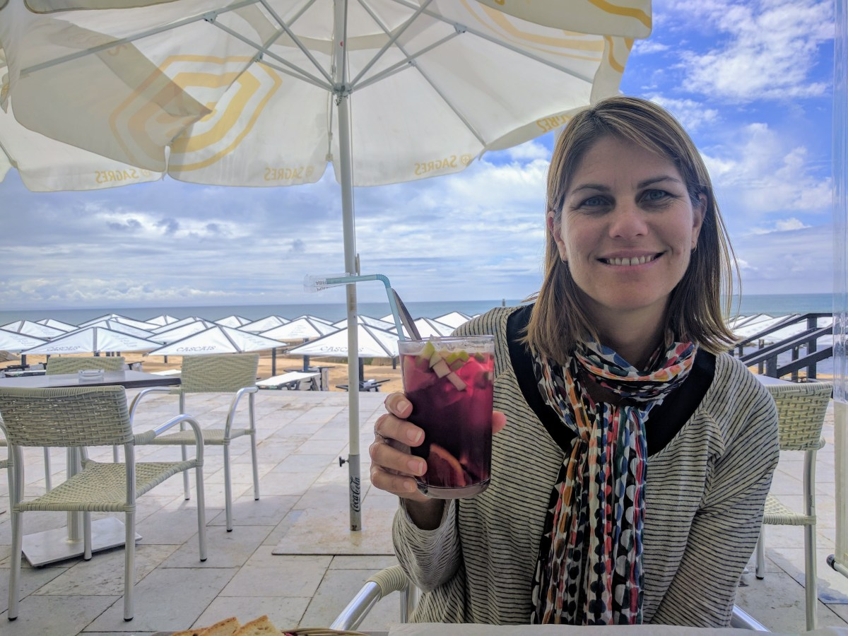 Clare having a Sangria in Portugal