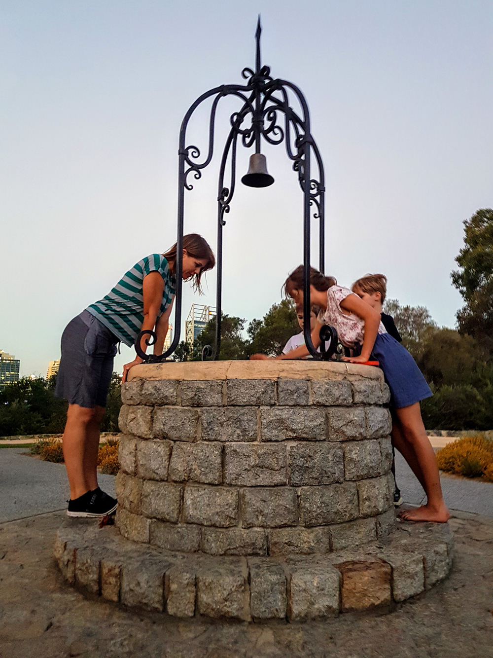 looking for luck at the Kings Park wishing well
