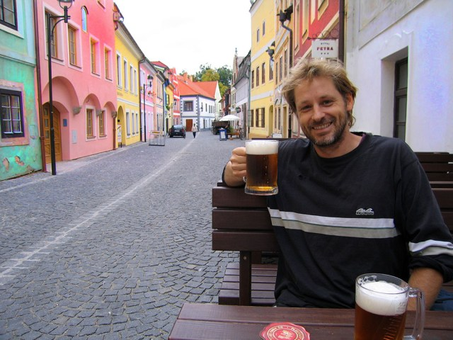 Having a beer in the Czech Republic in 2005