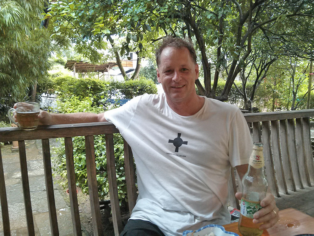 Having a beer at the Outside Inn in China