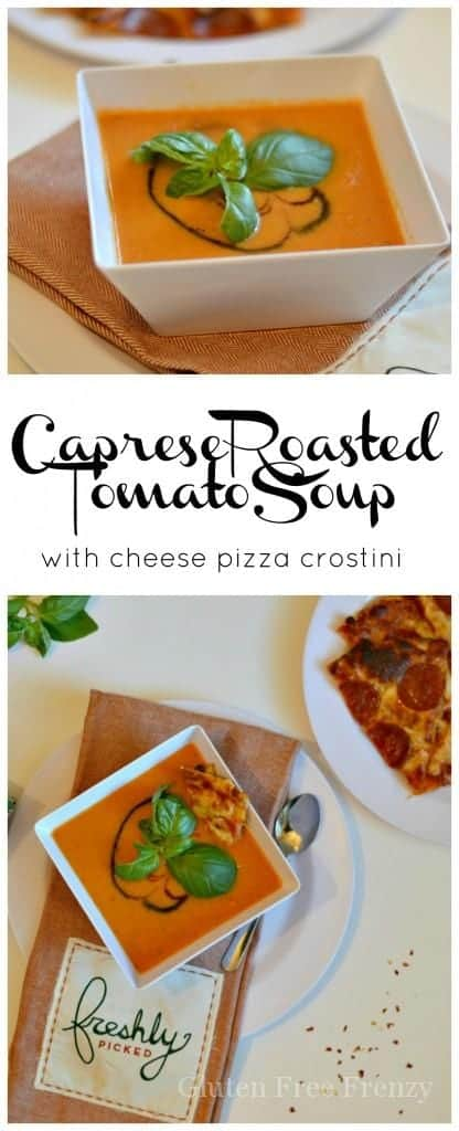 Yum! This Caprese Roasted Tomato Soup with Freschetta gluten-free cheese pizza crostini is such a fabulous dinner! It is a great way to take this semi-homemade meal up a notch. | gluten free soup recipes | gluten free dinner recipes | healthy soup recipes | soup recipes gluten free | gluten free meal ideas | gluten free cool weather recipes | gluten free soups and stews | homemade soup recipes || This Vivacious Life