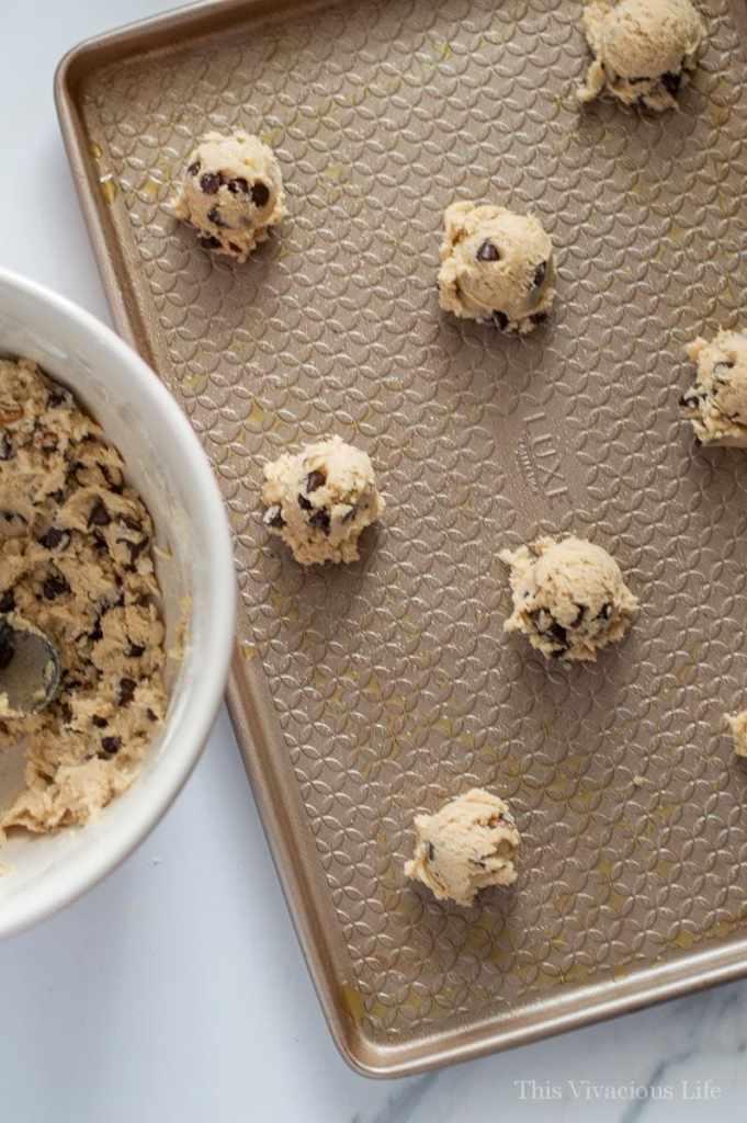 Overhead shot chocolate chip cookie dough balls