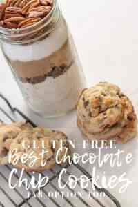 These really are the BEST gluten-free chocolate chip cookies! They are so yummy and definitely a classic. You can also make them in a jar as the perfect gift for friends and family.|| This Vivacious Life #glutenfree #cookies #chocolatechipcookies #glutenfreechocolatechipcookies #cookiesinajar #chocolatechipcookiesinajar #glutenfreecookies