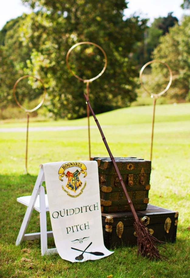 Arrange a Quidditch pitch on your lawn.