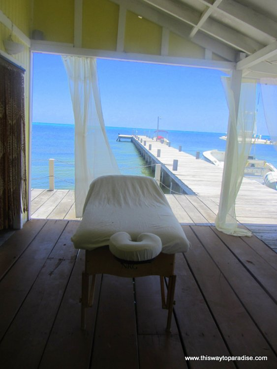 Massage table over the ocean, Ambergris Caye