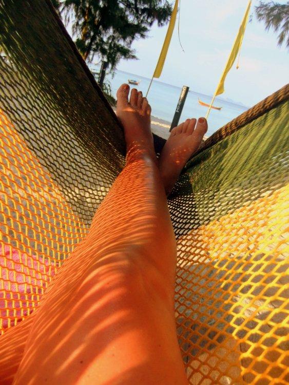 Feet in a hammock