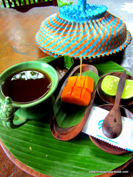 Ginger tea and papaya at Bodyworks Spa, Ubud