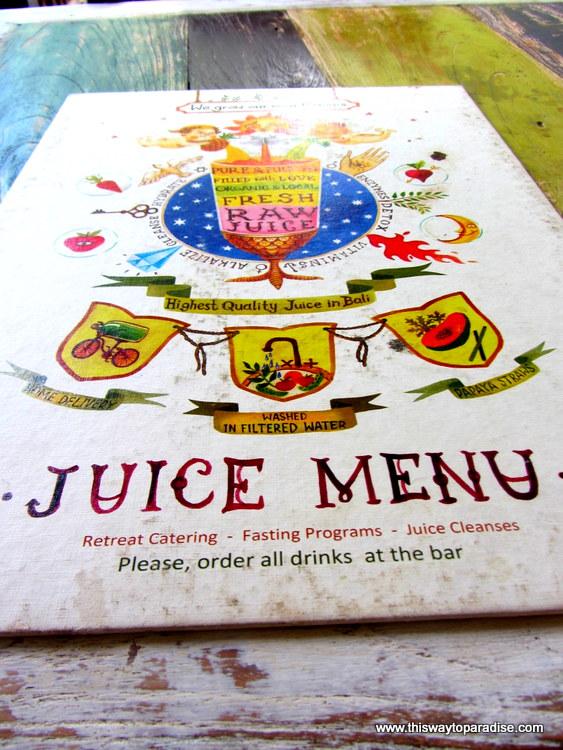 Alchemy Cafe Menu, Ubud, Bali