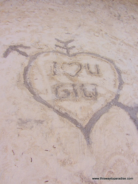 I Love You Gili in the sand