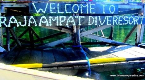Raja Ampat Dive Resort sign made of shells