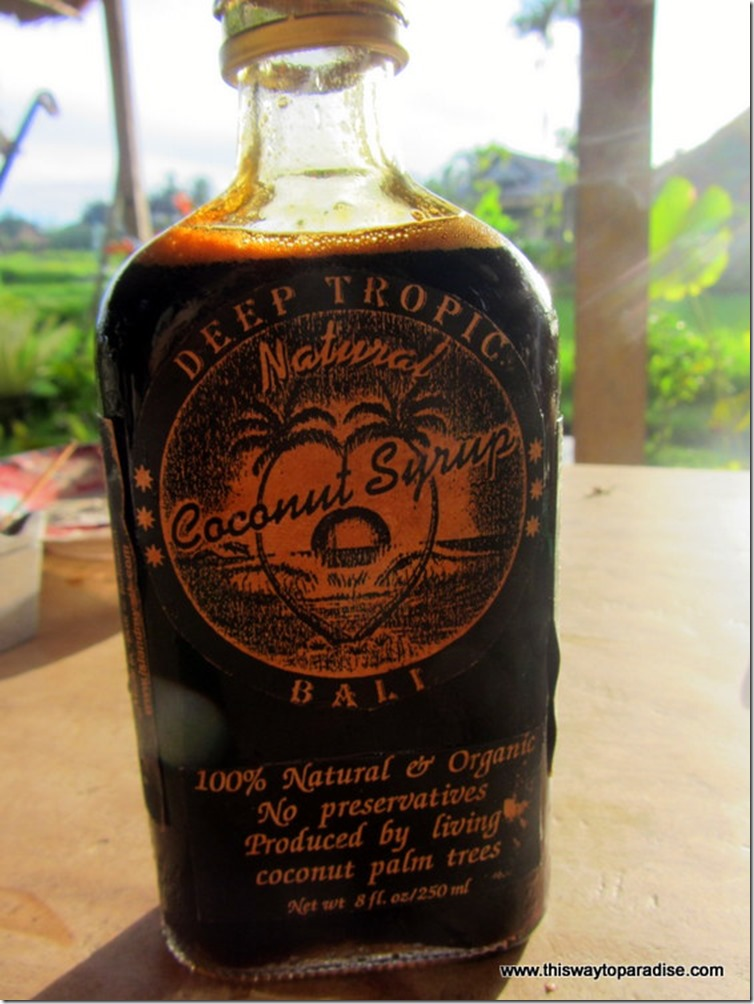 Coconut syrup from Alchemy, a juice bar in Bali