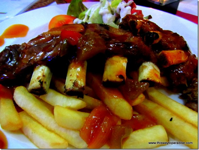 Ribs at Yogi's Paradise and Grill, A recommended restaurant in Kuta, Bali