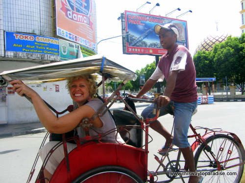 Val enjoying a becak ride, Ambon