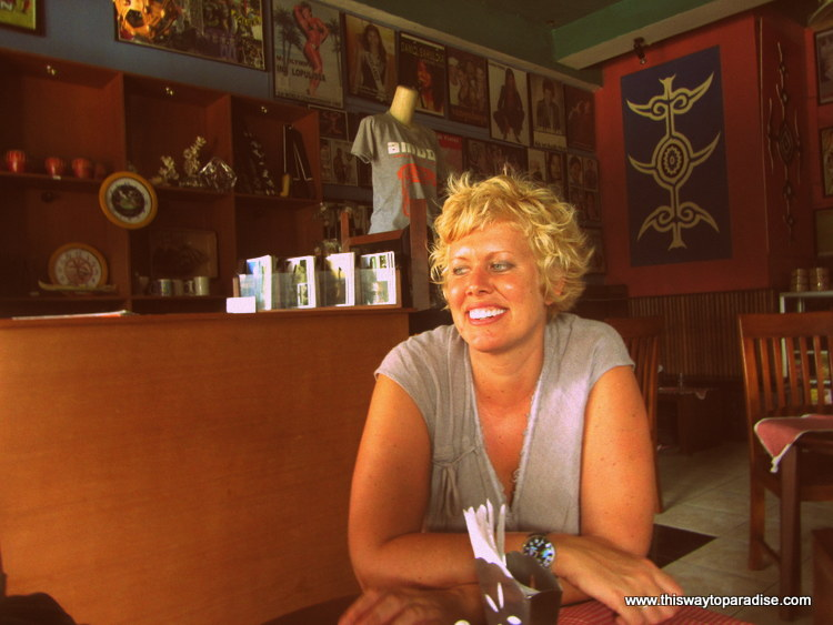 Val at an Ambon Cafe