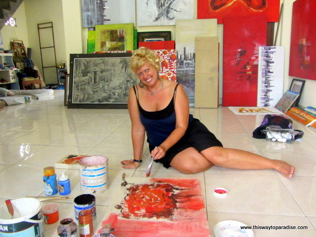 Val in how to paint class Ubud, Bali