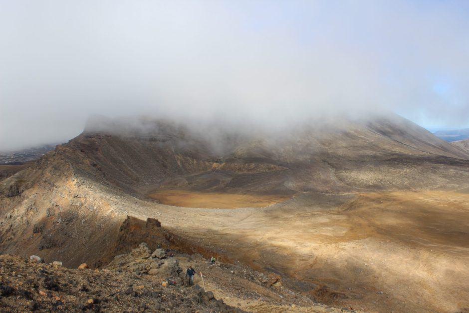 Overlooking the crater on the Tongariro Alpine Crossing, New Zealand