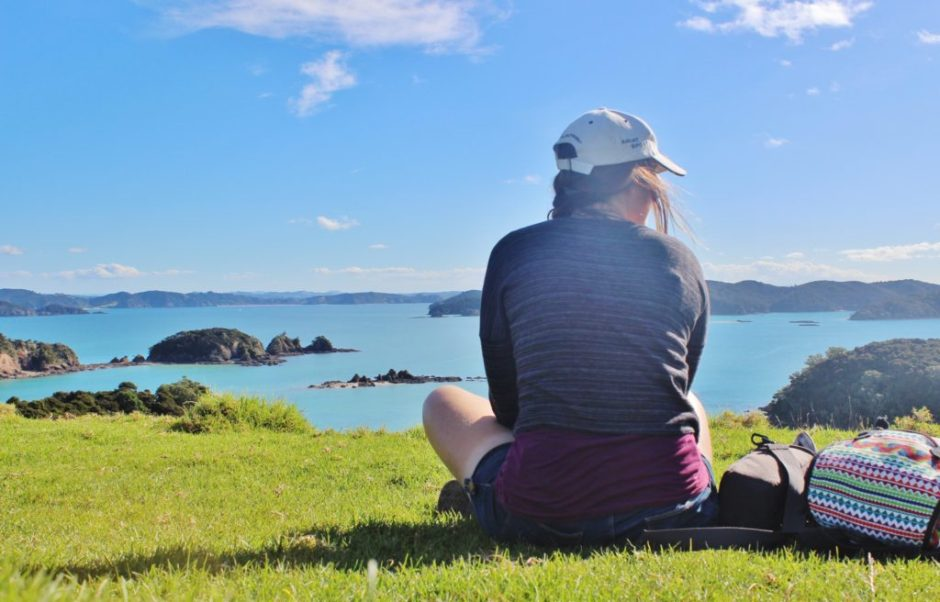 Admiring the view of the Bay of Islands, New Zealand