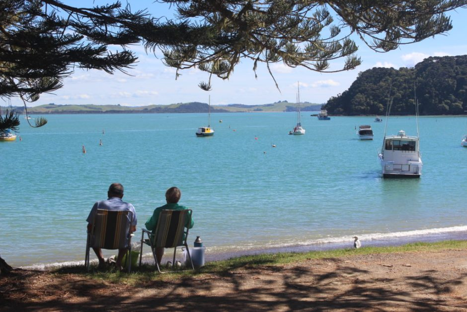 A couple relax in Russell in the Bay of Islands, New Zealand