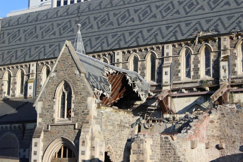 Damage to the roof of the Christchurch Cathedral, New Zealand