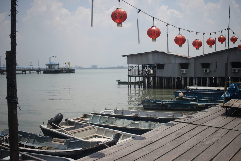 Boats by a Clan Jetty in Penang, Malaysia