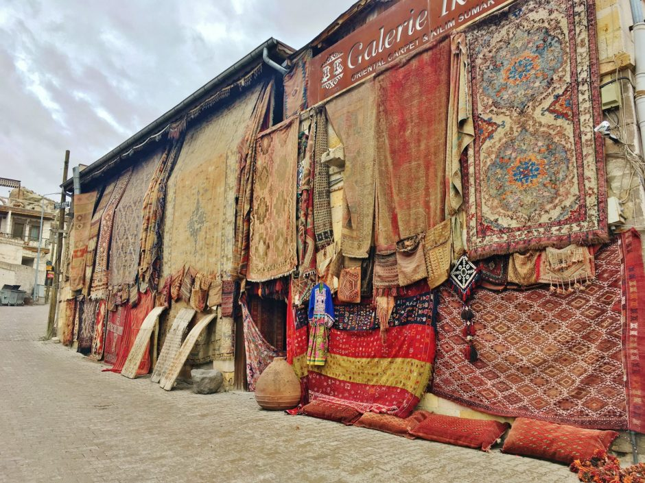 Colourful rugs for sale in Cappadocia, Turkey
