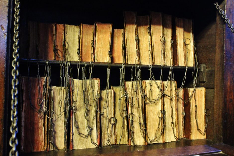 Old books in the Chetham's Library, Manchester, UK