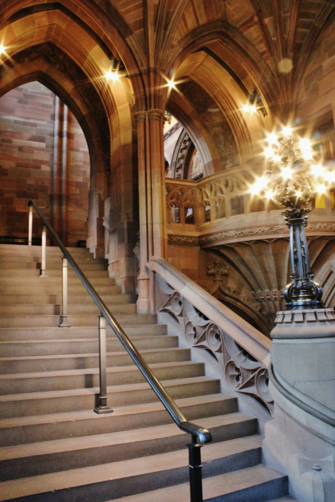 Staircase in John Ryland's Library, Manchester, UK