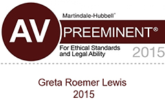 Greta Roemer Lewis, AV Preeminent rated by Martindale-Hubbell