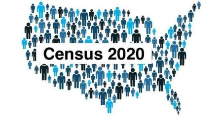 A graphic of a grouping of human bodies in different shades of blue standing next to each other, creating the shape of the United States. In the middle, it reads, Census 2020.