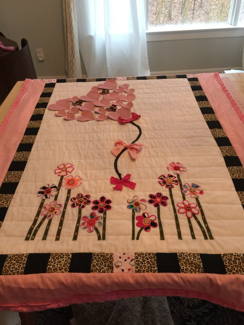 Custom Hearts and Flowers Quilt