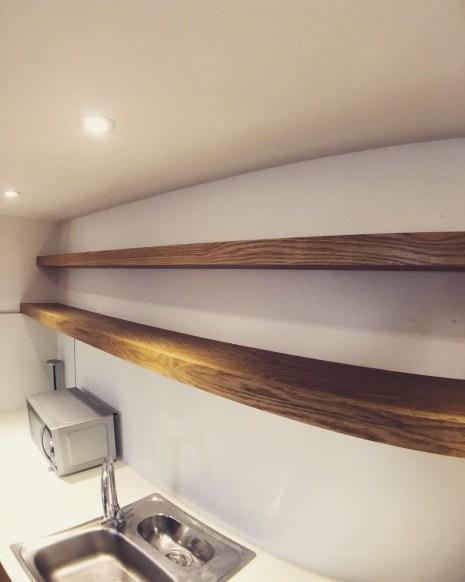 Solid wood, full width shelves