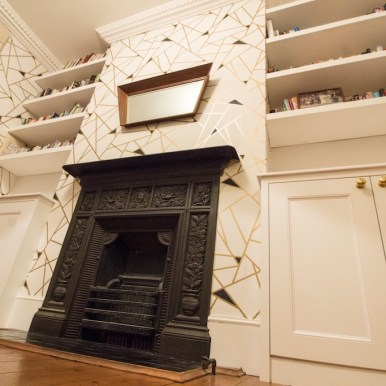 Alcove shelving with fireplace