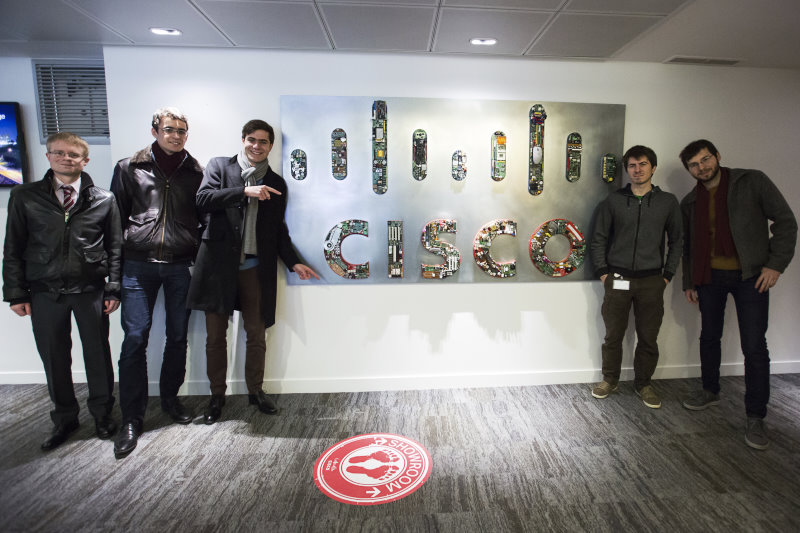 Benjamin Paterson (X08), Aloÿs Augustin (X12), Hugo Kaczmarek (X08), Pierre Pfister (X09) and Benoit de Laitre (X11) - all from Polytechnique, and all having done a research internship at Cisco Paris Innovation and Research Laboratory, where Pierre Pfister is now a research engineer.
