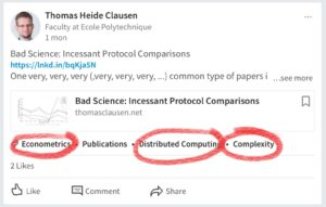 "LinkedIn Auto-Tag AI on Drugs: How does a post about protocol comparisons relate to ""economics"", ""distributed computing"" and ""complexity""?"