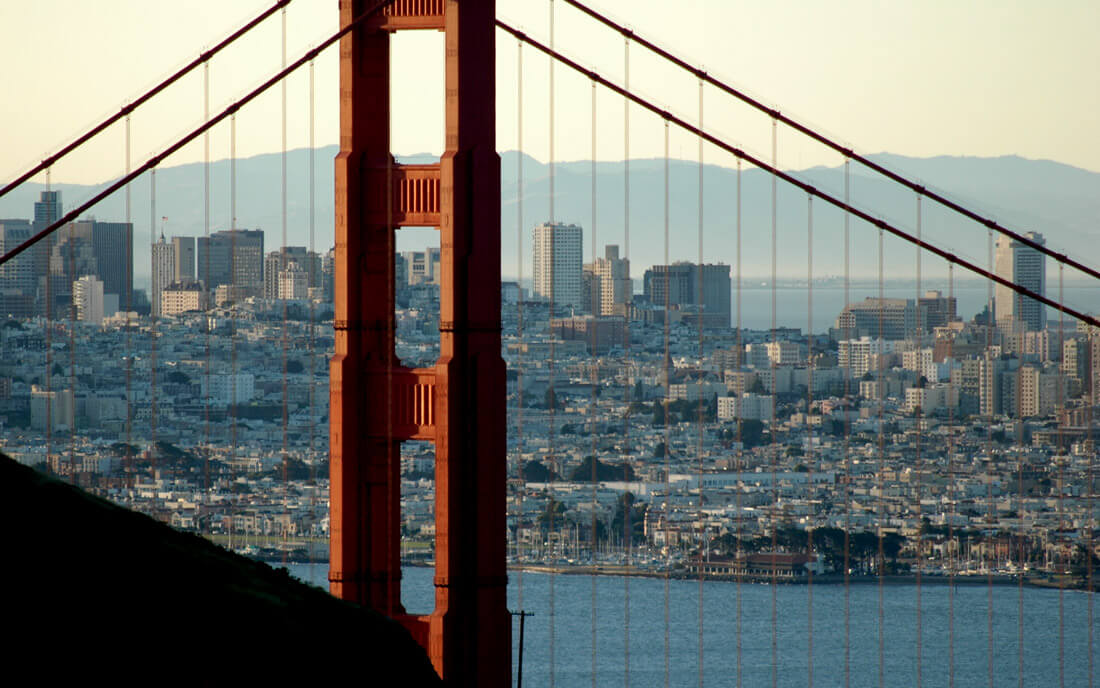 Photo of Golden Gate bridge with San Francisco in the background
