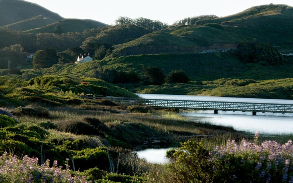 Photo near Marin Headlands for moving to Marin article showing bridge and house in distance