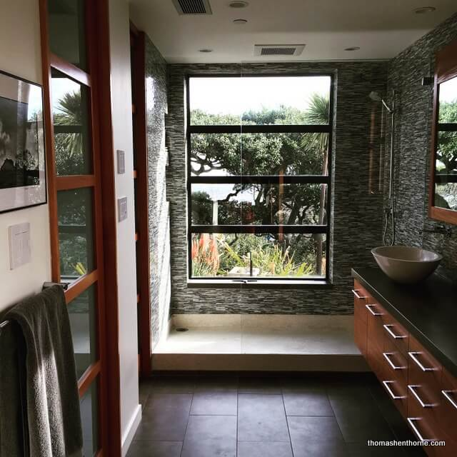 Marin Bathroom Remodel After Shot Photo Daytime With Sink And Tile And  Trees In Distance Through