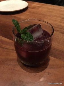 cocktail blackberry mint with ice cube