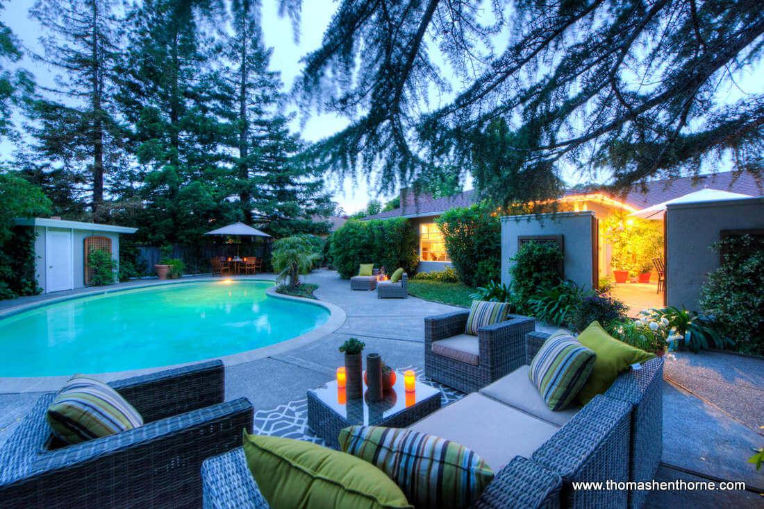20 Loma Linda Road Seating Area and Pool at Dusk