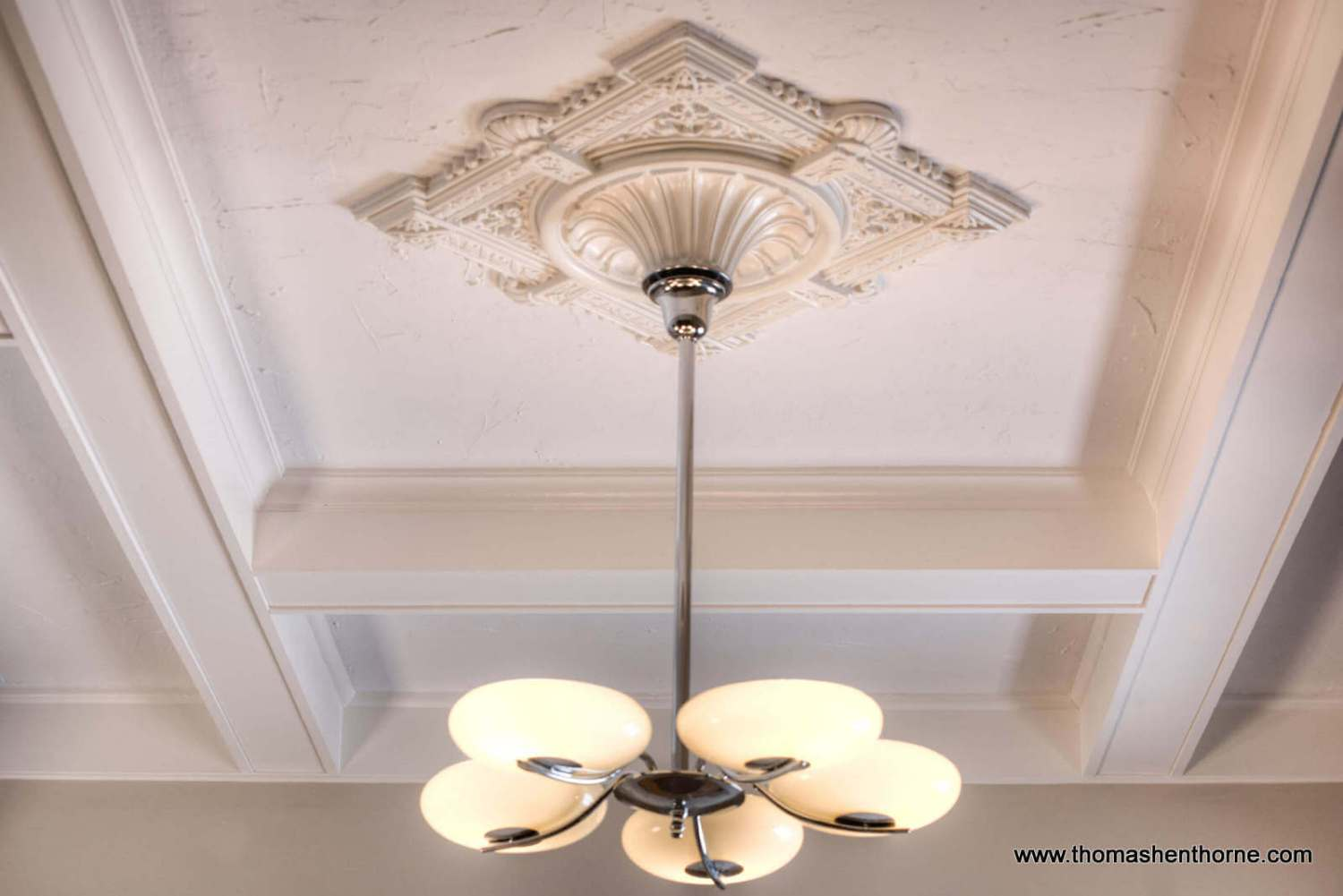 Close up of light fixture and ceiling medallion