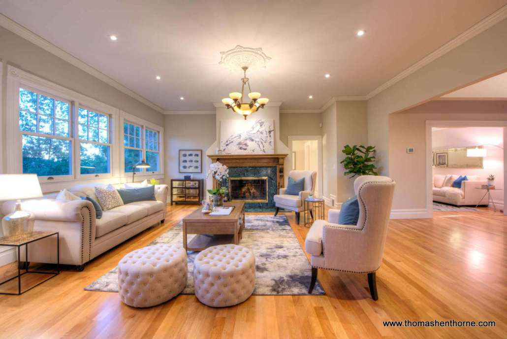 family room with fireplace and seating