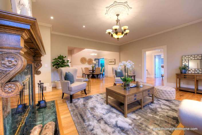 family room with gorgeous light fixture in ceiling
