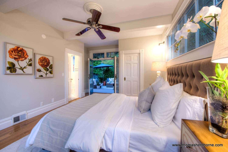master bedroom at dusk