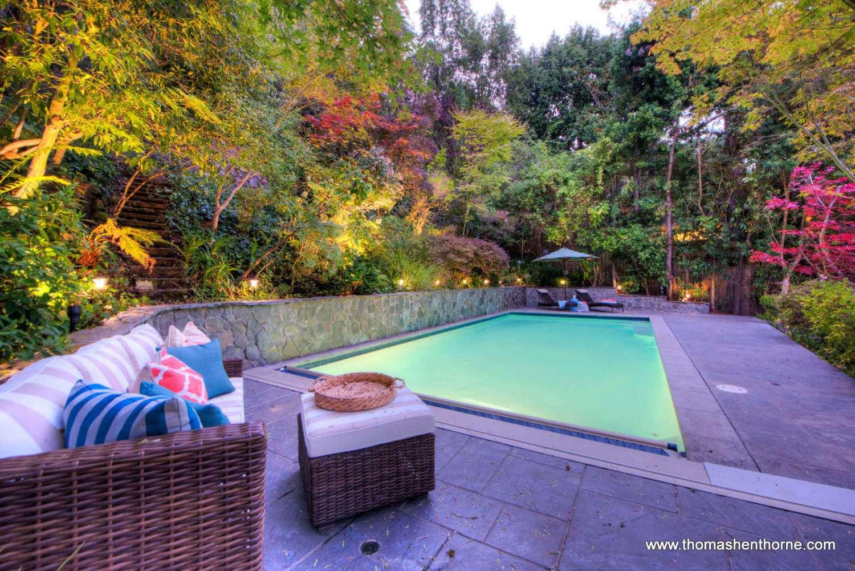 pool area at dusk