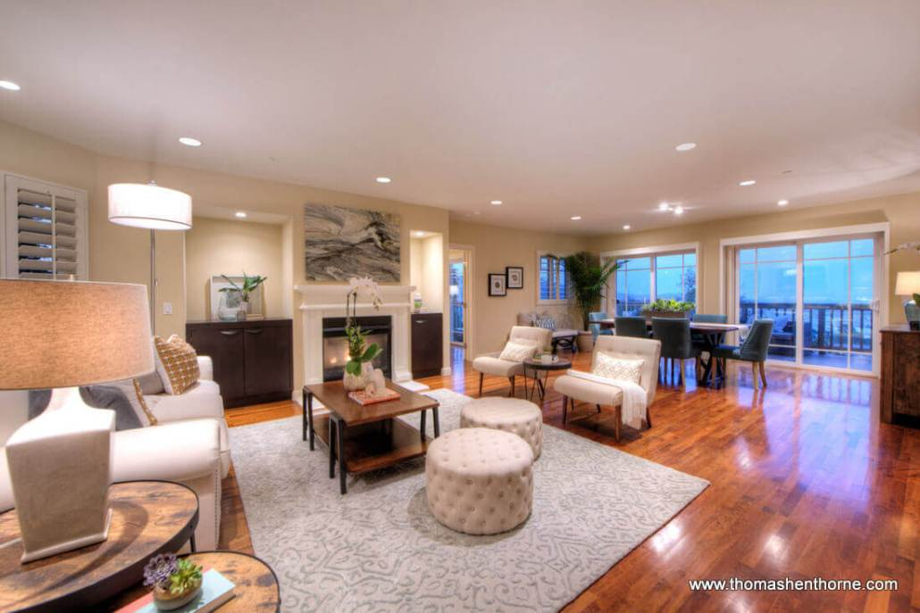 78 Southern Heights living room with dining area beyond