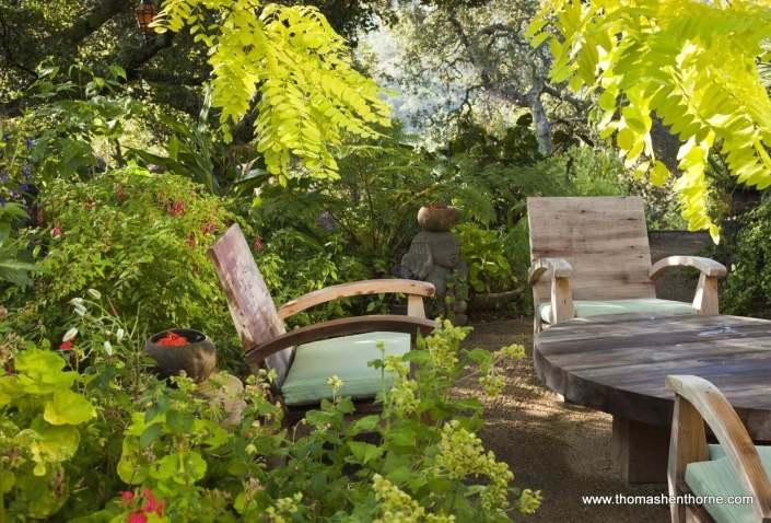 Garden seating area of teak